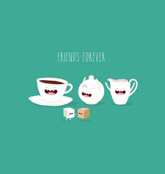 coffee tea sugar friends vector image