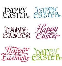 collection calligraphy inscription happy easter vector image vector image
