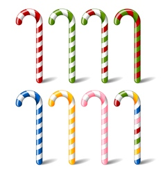 colorful striped candy canes vector image