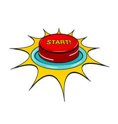 comic red button template vector image