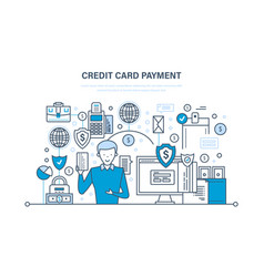 Credit card payment secure transactions finance vector