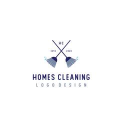 crossed cleaning broom symbol logo design vector image