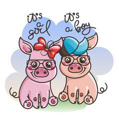 Cute cartoon baby pigs in a cool sunglasses vector