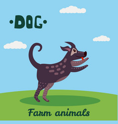 cute dog farm animal character farm animals vector image