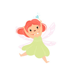 Cute little winged fairy flying with magic wand vector