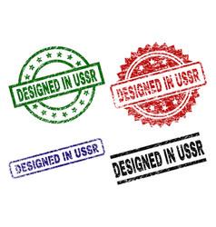 Damaged textured designed in ussr seal stamps vector