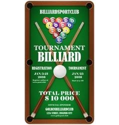 Design poster Billiard Tournament vector image