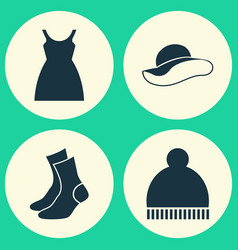 Dress icons set collection of half-hose beanie vector