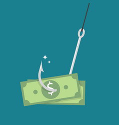 Fishhook with money vector