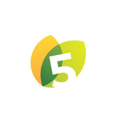 Five 5 number leaf overlapping color logo icon vector