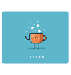 flat icon friendly cup of cocoa character vector image
