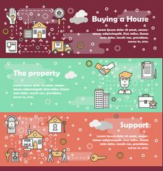 flat line art house property banner set vector image