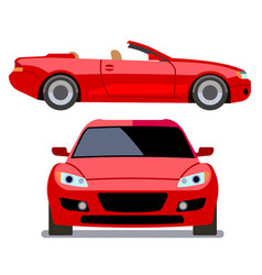 Flat-style cars in different views red vector