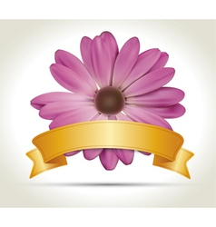 Flower with ribbon vector image