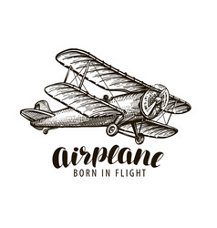 Flying airplane biplane vintage sketch vector