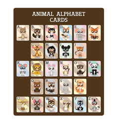 Fun educational animal alphabet cards vector
