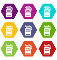 gamble machine icon set color hexahedron vector image