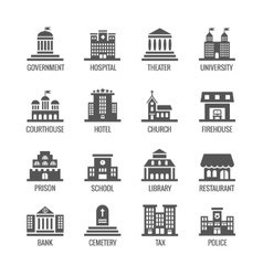 Government public building icons set vector image