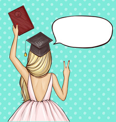 Graduate girl in graduation cap with diploma vector