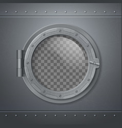 gray metal porthole realistic composition vector image