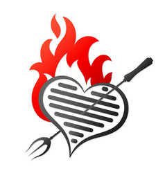 grill and flame heart vector image