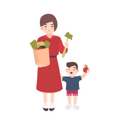 happy mom and little son holding fruits and vector image