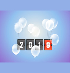 happy new 2019 year concept with counter and vector image