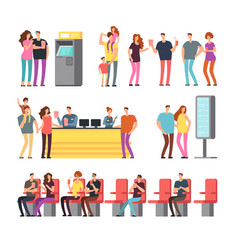 Happy young couples in 3d movie theater cartoon vector