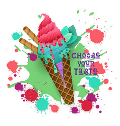 Ice cream cone colorful dessert icon choose your vector