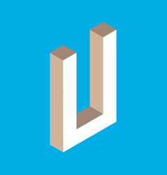 isometric letter u vector image