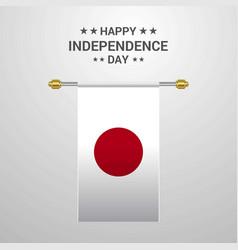 Japan independence day hanging flag background vector