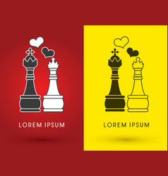 King and queen love chess vector