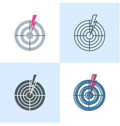 lightning bolt hitting target icon set in flat and vector image