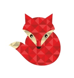Little red fox made of triangles vector image