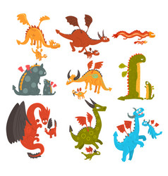 Mature dragons and small baby dragons set loving vector