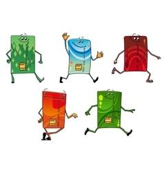 Modern bank credit cards cartoon characters vector image