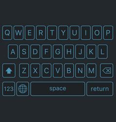 modern keyboard smartphone alphabet buttons vector image