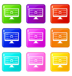 monitor icons set 9 color collection vector image