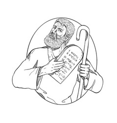 Moses with ten commandments drawing black and vector