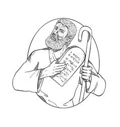 Moses with ten commandments drawing black vector
