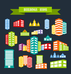 Multicolored icons with tape on topic building vector