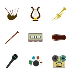Musical instruments icons set flat style vector