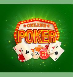 online poker banner in vintage light frame vector image