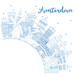 Outline amsterdam holland city skyline with blue vector