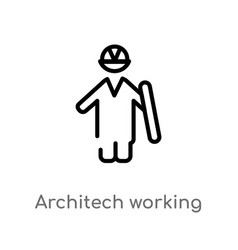 Outline architech working icon isolated black vector