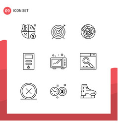 Pack 9 modern outlines signs and symbols for vector