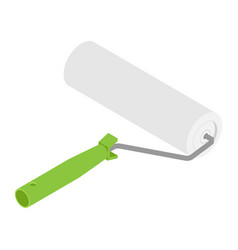 paint roller with green handle isolated on white vector image