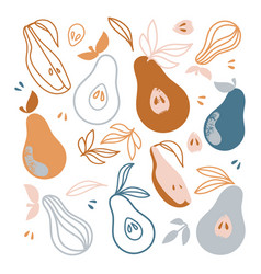 Pears delicious fruit hand drawn flat design vector