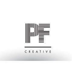pf p f black and white lines letter logo design vector image