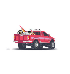 pickup with sports motorcycles vector image